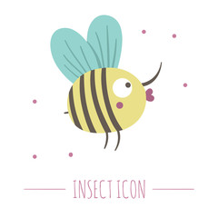 Vector hand drawn flat flying bumblebee. Funny woodland insect icon. Cute forest animalistic illustration for children's design, print, stationery.