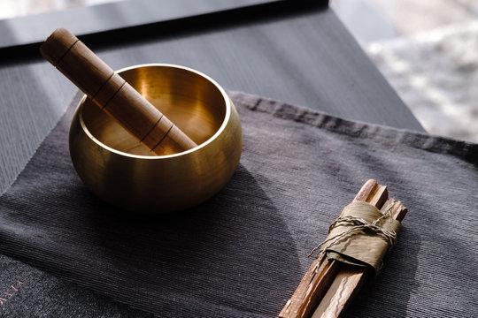 Bronze tibetan singing bowl, sound healing, palo santo