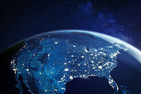 USA from space at night with city lights showing American cities in United States, global overview of North America, 3d rendering of planet Earth, elements from NASA