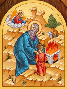 Secovska Polianka, Slovakia. 2019/8/22. The icon of Abraham about to sacrifice His son Isaac on the Mount Moriah. The church of Saint Elijah.