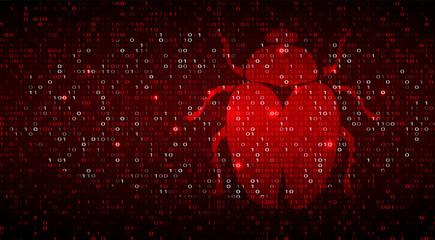 Digital Binary Code on Dark Red BG with Bug Wall mural