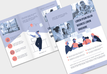 Flyer Layout Set with Business-Themed Illustration Elements