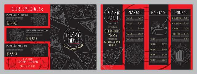 Pizza restaurant menu - A4 card