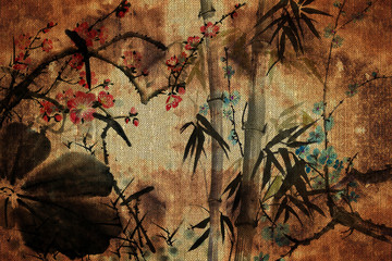 Photo sur Aluminium Papillons dans Grunge 3d wallpaper, butterflies, Chinese nature painting, old canvas textures. Murals effect.