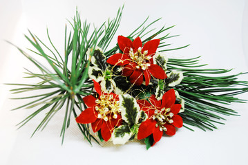 Christmas decorations (christmas punchettias ) on a branch of a tree
