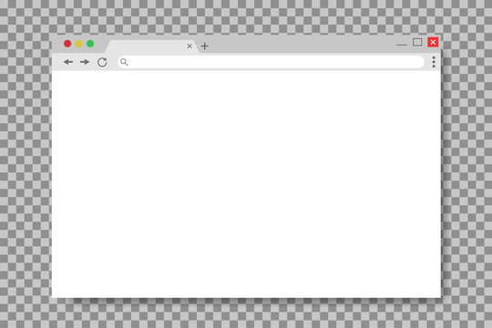 Browser window in mockup style. Empty website page. Mockup screen of browser window. Web page in flat style. Computer interface with tab. vector
