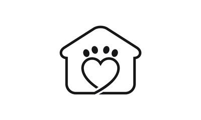 Pets Home Vector Logo Template, Pet Home Logo Design Illustration, dog cat pet house home love logo vector icon, Pet House Logo,  pet care logo with home icon, Home pets care love Logo design vector
