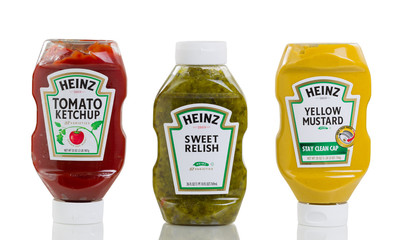 Heinz condiment products isolated on pure white background