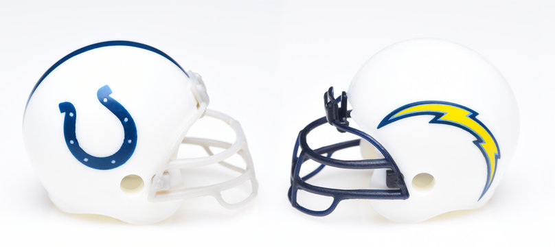 IRVINE, CALIFORNIA - SEPTEMBER 6, 2019: Football helmets of the Indianapolis Colts vs Los Angeles Chargers, Week One opponents in the NFL 2019 Season
