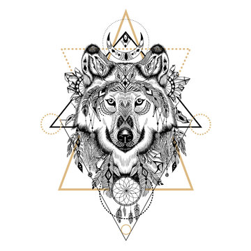 Hand drawn detailed wolf in aztec style