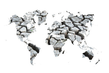 world map of dry and crack on white background