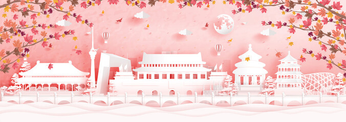 Fototapete - Autumn in Beijing, China with falling maple leaves and world famous landmarks in paper cut style vector illustration