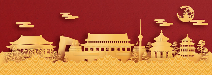 Fototapete - Panorama postcard and travel poster of world famous landmarks of Beijing, China in paper cut style vector illustration