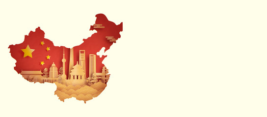Fototapete - China flag with world famous landmarks Shanghai in paper cut style vector illustration