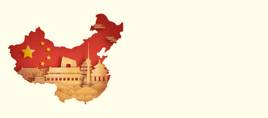 Wall Mural - China flag with Beijing, China world famous landmarks in paper cut style vector illustration