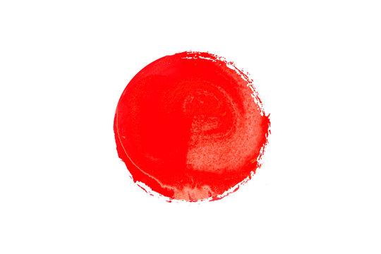 赤い絵の具で描いた丸