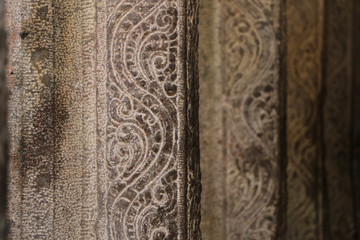 Fototapete - Stone carving Pillars in Hindu Temple