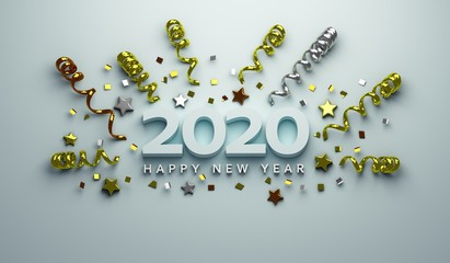 Happy New Year 2020 of gold confetti stars text and 2020 number for holiday greeting card . 3D Render Illustration