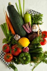vegetables. harvest. different bright fresh vegetables. bright vegetables and greens on a white background.  vegetables on a white background.
