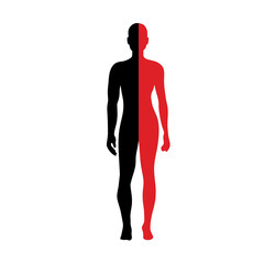 Silhouette of Half body Male and female Anatomy