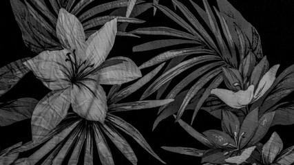 Foto auf Leinwand Blumen black floral background