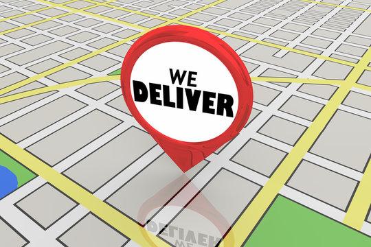 We Deliver Location Restaurant Service Map Pin 3d Illustration