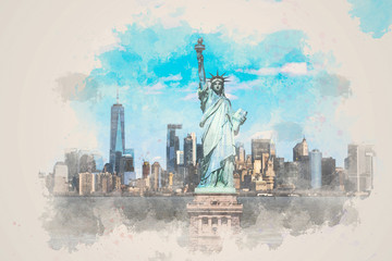Fotomurales - Digital Watercolor The Statue of Liberty over the Scene of New York cityscape river side which location is lower manhattan,Architecture and building with tourist, illustration and art concept