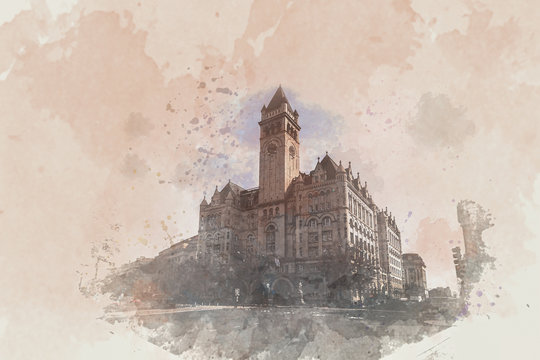 Digital Watercolor Old post office washington DC, United States, USA downtown, Architecture and Landmark with transportation concept, illustration and art concept