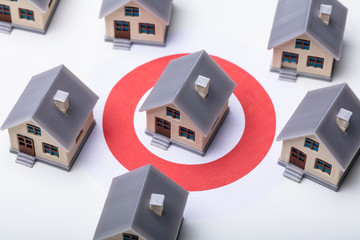 Houses And Red Darts Target