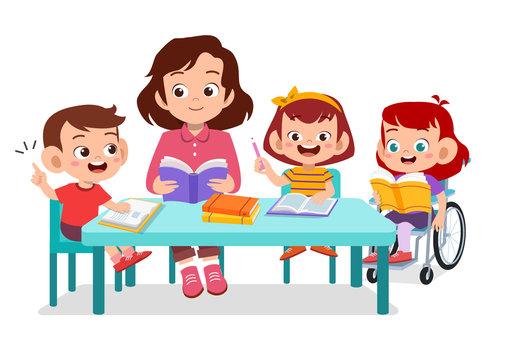 kids disabled study teacher together