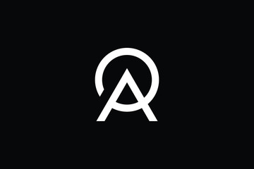 Outstanding professional elegant trendy awesome artistic black and white color AP PA AO OA initial based Alphabet icon logo.