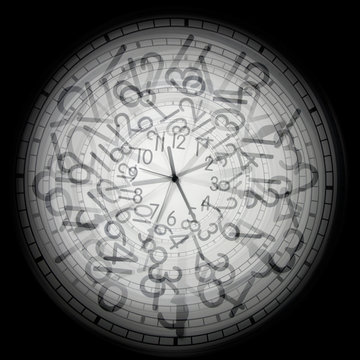 conceptual time image of group of clocks over black background