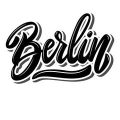 Berlin (capital of Germany). Lettering phrase on white background. Design element for poster, banner, t shirt, emblem.