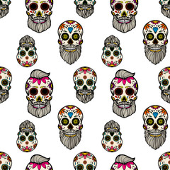 Seamless pattern with mexican sugar skulls. Design element for poster, card, flyer, banner.