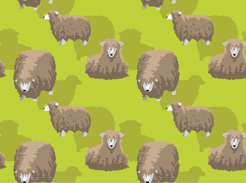 Sheep Lincoln Longwool Cartoon Background Seamless Wallpaper