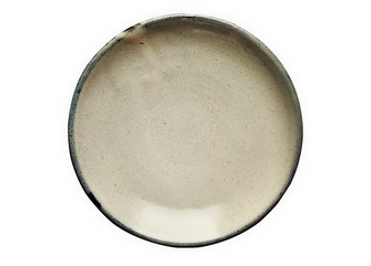 Ceramic plate, Empty plate with granite texture, View from above isolated on white background with...