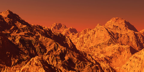 Photo sur Aluminium Rouge mauve Mars landscape, 3d render of imaginary mars planet terrain, science fiction illustration.
