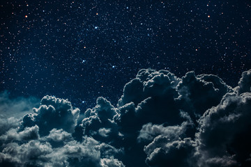 Wall Mural - backgrounds night sky with stars and moon and clouds.
