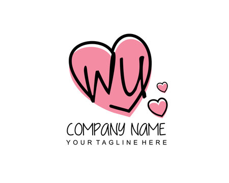Initial letter WU handwriting logo with heart template vector