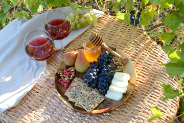 Printed roller blinds Picnic Autumn picnic in the garden Wine glasses and wine snacks on a wicker table outdoor Lunch in nature