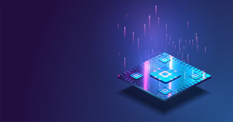 Futuristic microchip processor with lights on the blue background. Quantum computer, large data processing, database concept. CPU isometric banner. Central Computer Processors CPU concept.Digital chip Wall mural
