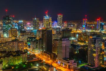 Obraz Centrum Warszawy nocą, stolica Polski - fototapety do salonu