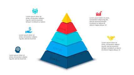 Vector abstract pyramid for infographic with 5 step or options. Business template for presentation.