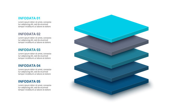 3d plates with 5 segments or layers. Modern infographic design template. Vector illustration for presentation. Concept of five stages of hierarchy