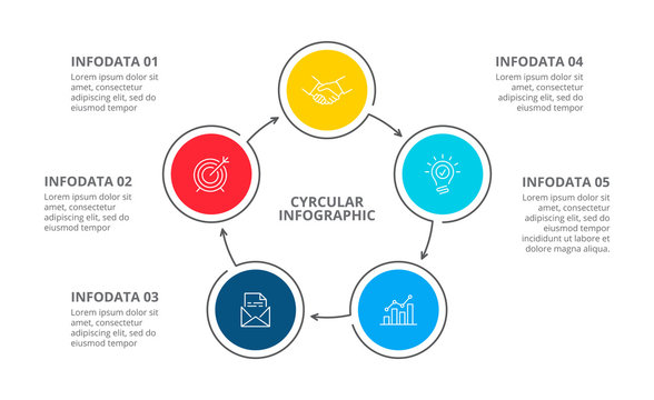 Cyclic diagram infographic with circles. Modern infographic design template with 5 options, steps or parts. Flat vector illustration for business presentation.