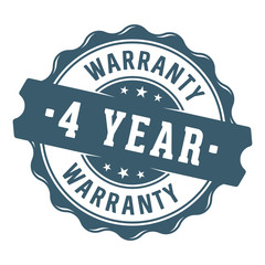 4 year warranty vector label/stamp