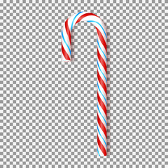 Red and blue Xmas candy cane isolated on transparent background. Vector illustration. Top view on realistic sweet icon. Template for Christmas and New Year greeting cards.