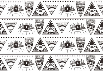 Ethnic background seamless pattern with hand drawn aztec navajo drawing repeated design.