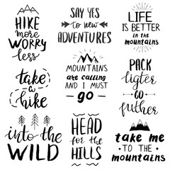 Set of quotes related to travel in mountains, camping and hiking