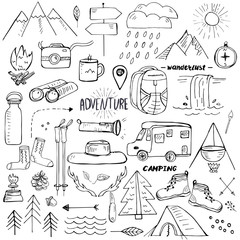 Hand drawn elements related to hiking, camping and travelling
